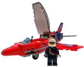 Lego piloot met straaljager speelmat